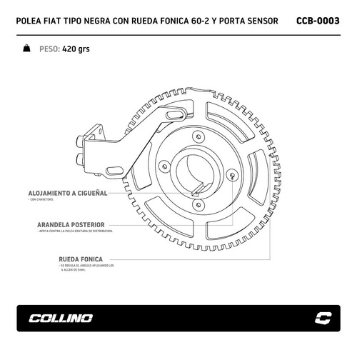 polea rueda fonica 60-2 fiat 1 uno negro porta sensor c-shop