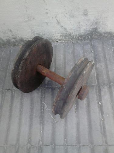 poleas de madera antigua 24 cns