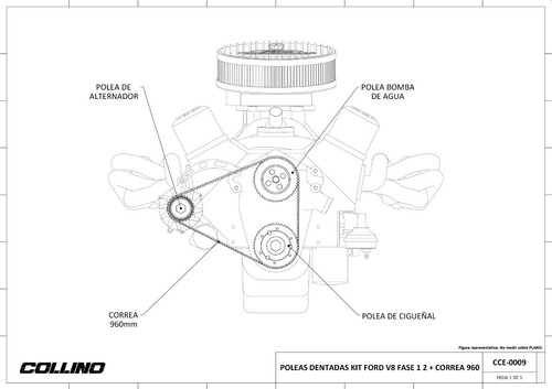 poleas dentadas ford v8 fase 1 2 alternador bomba ag collino