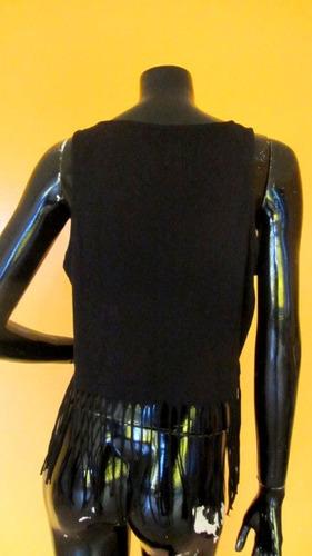 polera color negro con flecos marca rollygo xl