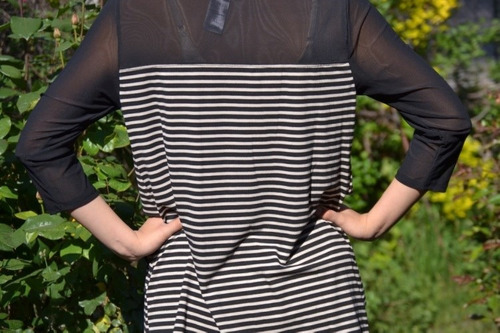 polera de mujer, asimetrica, beige y negro, importada usa
