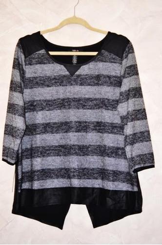 polera de mujer talla xl, gris y negro