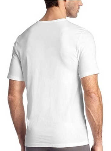 polera hugo boss blanca cuello v 100 porciento algodón s