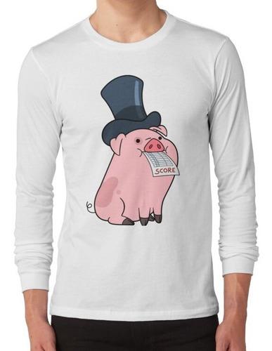 polera manga larga waddles el cerdo en un sombrero de copa d