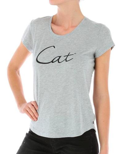 polera mc mujer women's heritage tee gris cat