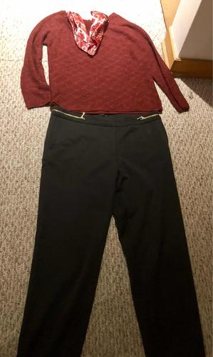 polera pantalón moderno con cierres a los lados pañuelo