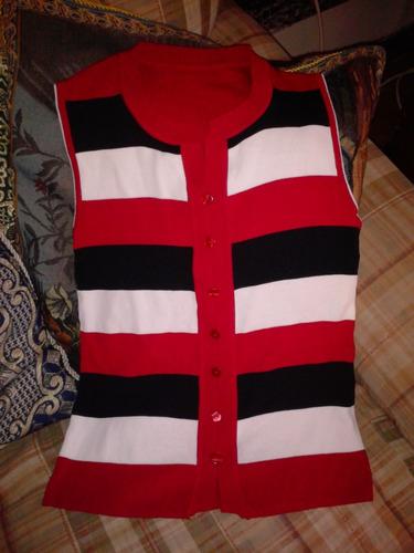polera tejida elasticada talla s rojo blanco negro