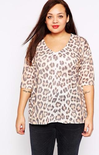 polera tejida larga asos - camiseta animal print talla 52