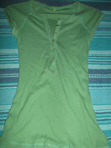 polera verde marca fes ajustada delgada femenina talla s