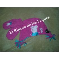 Conjunto Mitones Y Gorro Peppa Pig