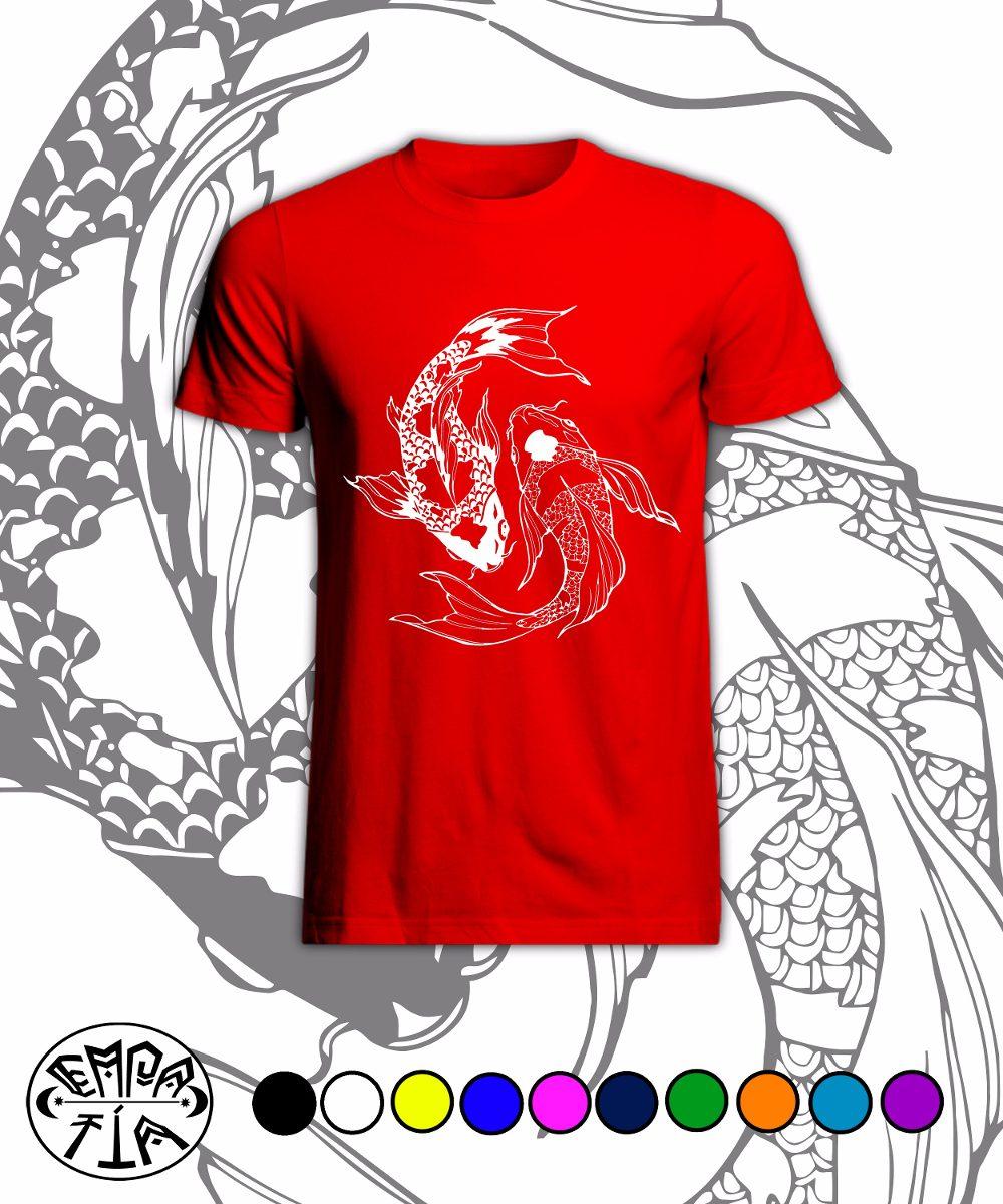 Poleras Peces Koi Ying Yang Varios Colores Serigrafía 7000