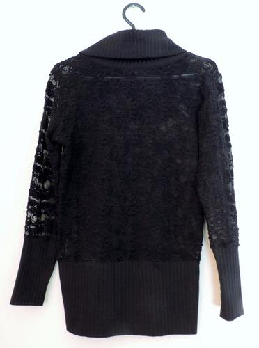 polerón encaje negro con cuello y pretina algodón