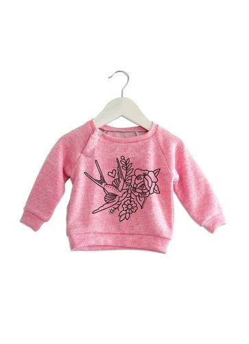 poleron niño-niña raglan con broch  diseño tatto rosado