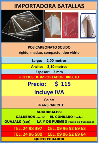 policarbonat  3mm rigido macizo compacto 1,20metro acrilic f