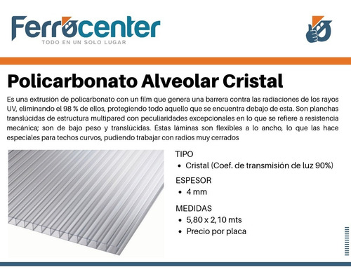 policarbonato alveolar 4 mm 5,80 x 2,10 zona norte y capital