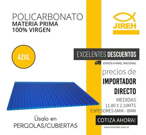 policarbonato azul con garantía para techos pergolas