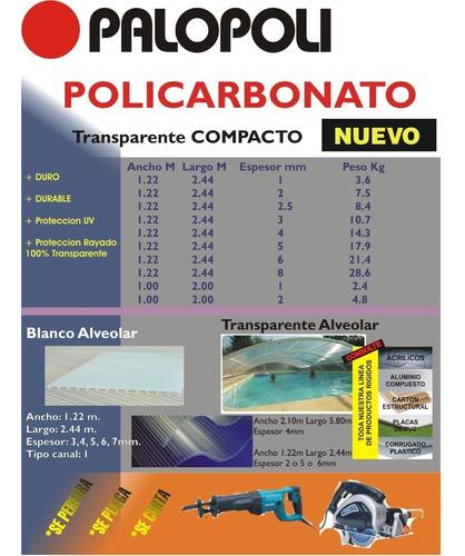 policarbonato compacto placa 2mm 1,00x2,00m cristal palopoli