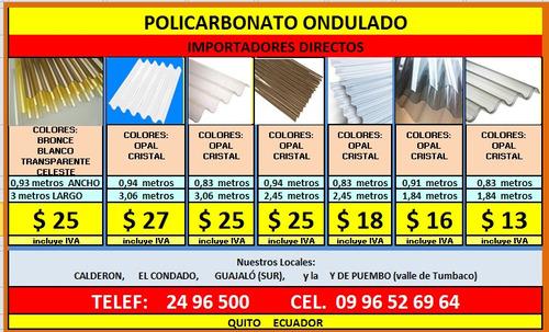 policarbonato por metros, techos, pergolas, tejas española
