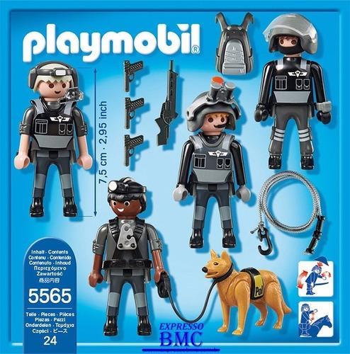 polícia equipe tática com 27 peças original playmobil 5565