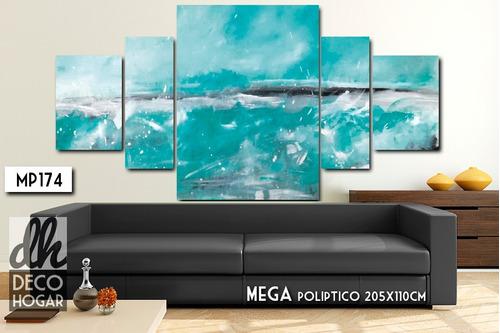 poliptico 205x110 abstracto - cuadro decorativo moderno