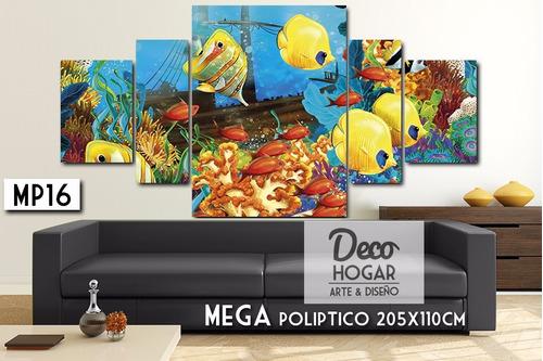 poliptico animales 205x110cm - cuadro decorativo moderno