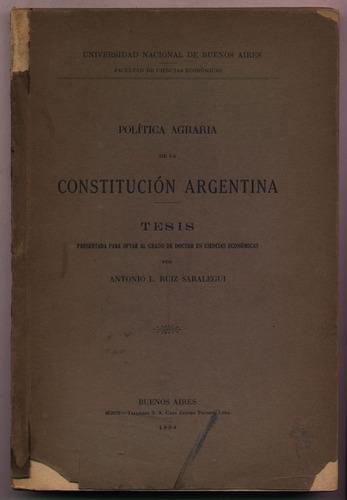 política agraria de constitución argentina. ruiz saralegui