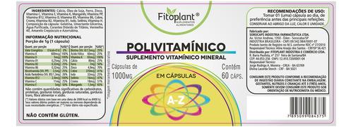 polivitamínico 1g 60 cáps. kit 3 potes premiun original