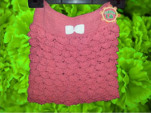 pollera con volados para niña tejida a crochet