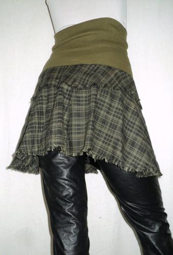 pollera corta  ancha cintura elastizada 54cm sin estirar