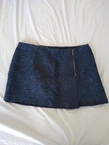 b2a902303 Pollera Corta Azul Lurex Invierno Zara Talle L