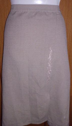 pollera dama bordada talle l en lino beige ,falda preciosa