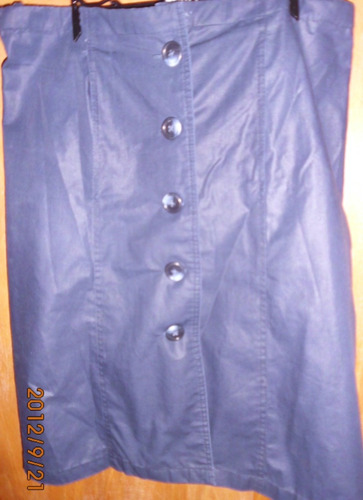 pollera de dama azul en gabardina brillosa talle l nueva