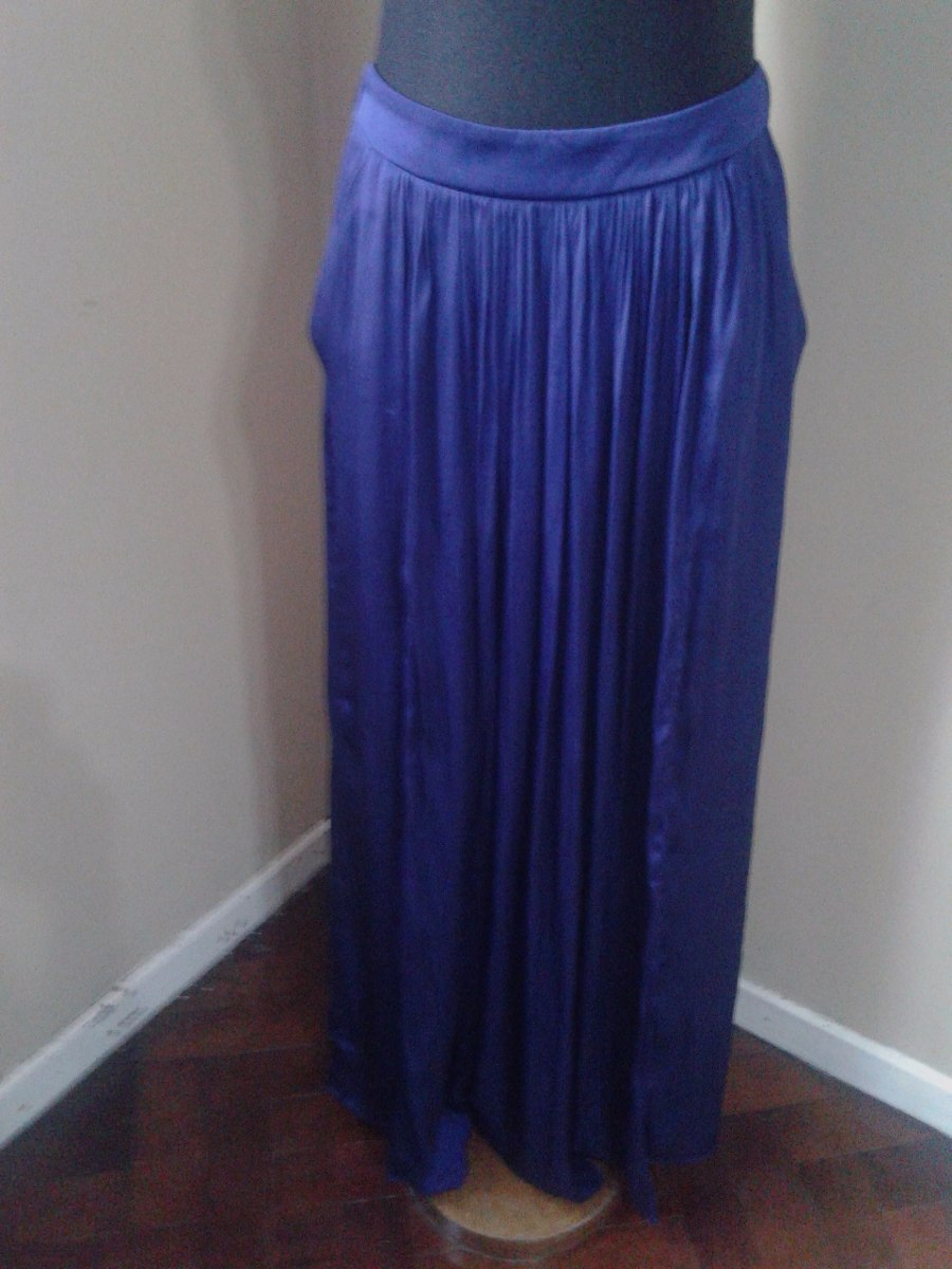 666147c9c Pollera De Fiesta Zara Raso Azul Larga - $ 390,00