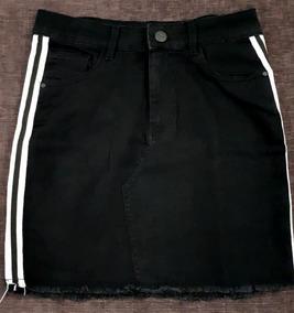 817fcb300 Pollera De Jean Negra Mujer Falda Con Franja Última Moda