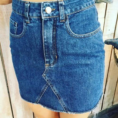 pollera de jeans rigida blu