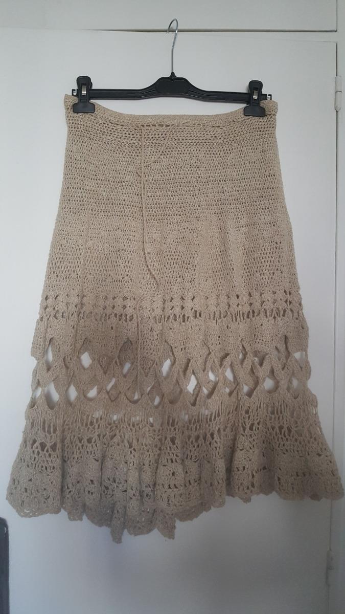 3342c0e2e Pollera En Crochet Beige T S Impecable - $ 950,00