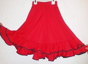 bf782846e Pollera Falda Flamenca Niña Roja Con Volados