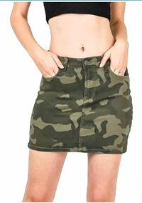 fd6838cd5 Pollera Jean Camuflada Dama Mini Falda Mujer Moda Verano 19