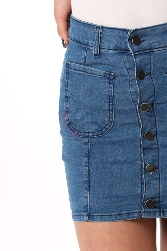 94a5701506 pollera jean con botones bolsillo adelante elastizada. Cargando zoom.