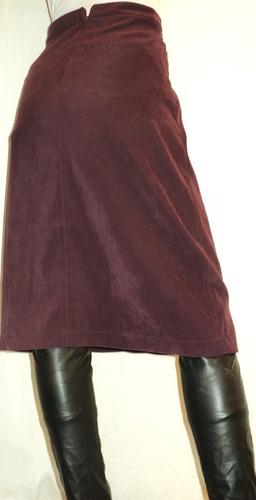 pollera larga terciopelo color bordó talla 42 cintura 72cm