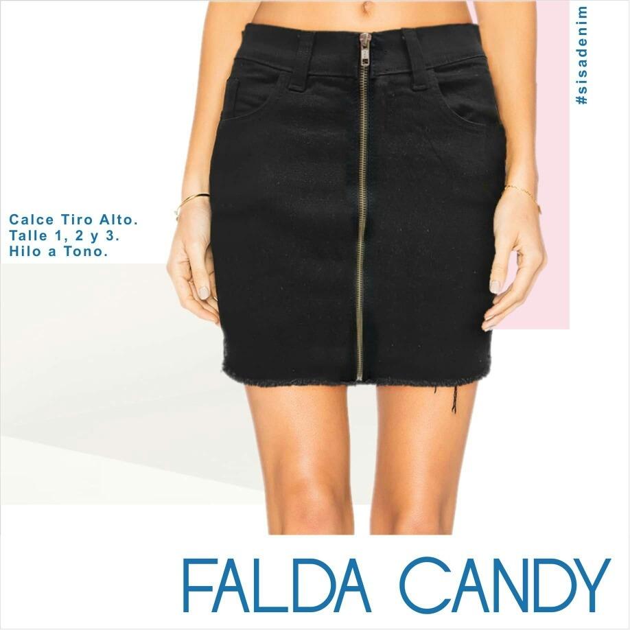 e8110745b Pollera Mini Falda Jean Negra Sisa Denim Candy Cierre