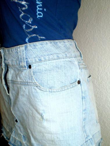 pollera mini jean celeste impecable lisboa dama talle m