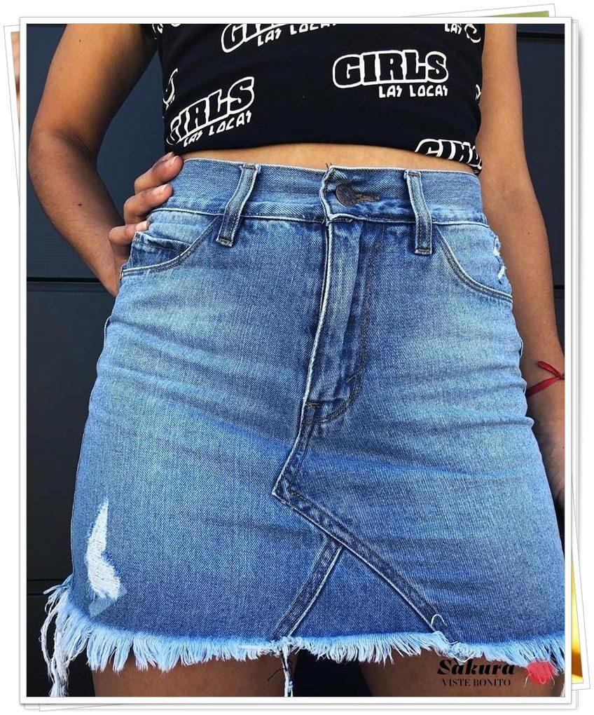 042d8ecdc Pollera Mini Jean Mujer Tiro Alto Desflecada Moda Verano