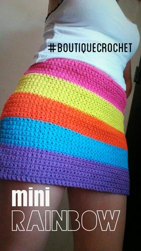pollera minifalda playera tejida a  crochet