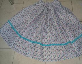 c14931e43 Pollera Paisana Flores Lila Azul Puntilla Turqueza 70 Cms