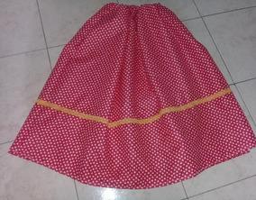 5ee571bbf Pollera Rojo Corazones Blancos 70 Cms De Paisana