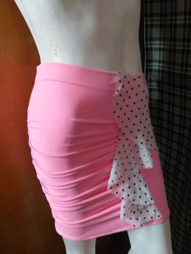 pollera tabatha elastizada original rosa chiche !