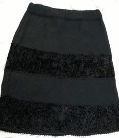 eb76f09be Pollera Tejida Lana Gruesa Y Suave Sedosa Negra Talle 2