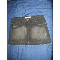 Pollera Jeans Mini Zf Negra Lavada A La Piedra Talle M