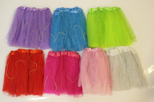 pollerita tutu princesa led - colores cotillon disfraz